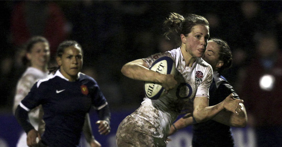 Emily Scarratt for England against France in the 2010 Six Nations