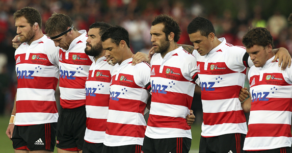 Some Crusaders' player's observe a minutes silence for the victims of the Pike River Mine disaster and the Christchurch earthquake.