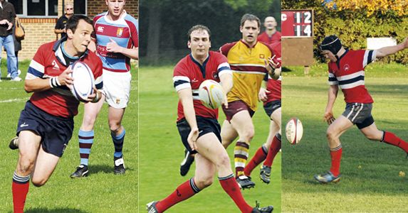 (from left) scrum-half Ali Lines, centre Mark Sweeting and Fly-half Nick Wheatley