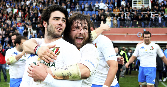 Luke McLean and Martin Castrogiovanni of Italy celebrate their Six Nation win over Scotland in 2010