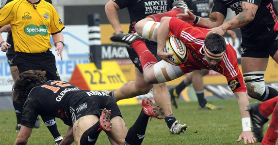 Leading the way: James Coughlan goes flying in Munster's recent win over Aironi
