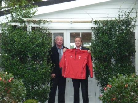 left Basil Lennan and right David Kneebone, two New Zealanders who are part of a scheme offering to host Welsh rugby fans and families free of charge at RWC 2011 in New Zealand in September, outside one of the available homes in Hamilton