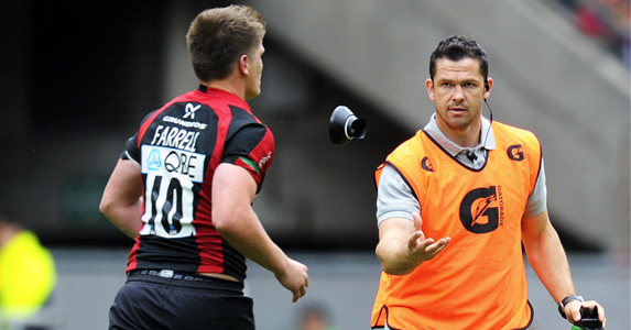 Proud moment: Dad Andy Farrell with son Owen Farrell at Twickenham