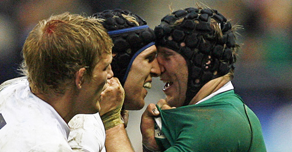 Tempers flare between James Haskell (2nd R) and Stephen Ferris during the Six Nations