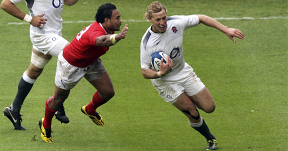 Billy Twelvetrees on his way to scoring a try