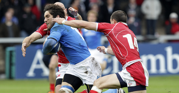 Men of the moment - Andrea Pratichetti of Italy A is tackled by Vasily Artemyev