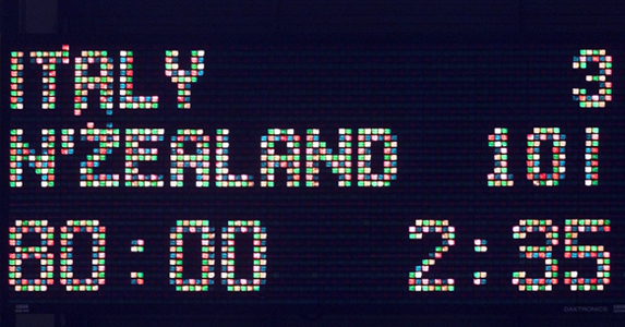 1999: Final score of the game between New Zealand and Italy