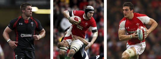 Lydiate (left) and Warburton (right) have been joined by Ryan Jones (centre) in Wales' back row