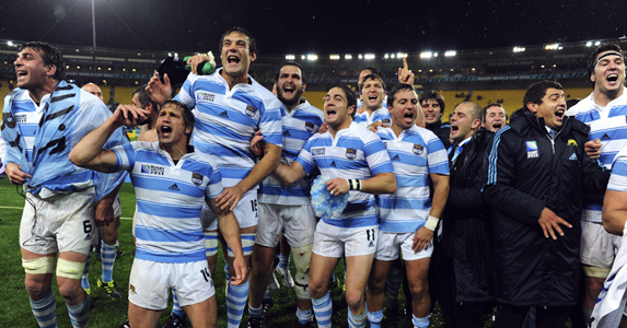 Argentinian players celebrate after beaing Scotland in the RWC Pool B match