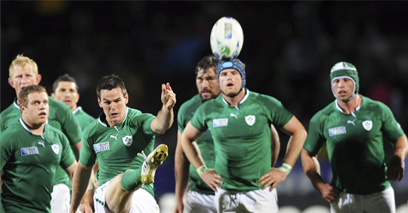 Jonathan Sexton kicks the ball out during the Pool C match - Ireland v Russia