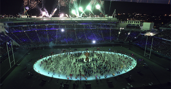 Fireworks light up the sky during the 2011 Rugby World Cup Opening Ceremony at Eden Park