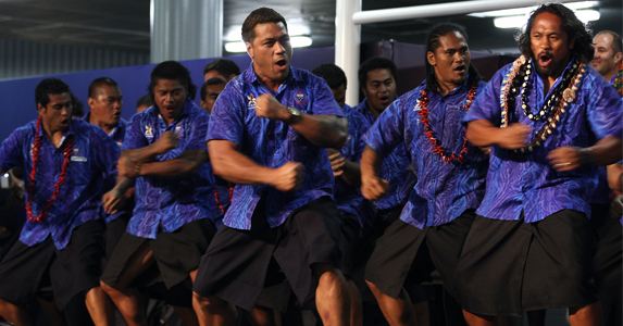 Samoan Captain Mahonri Schwalger leads the Haka upon their arrival in Auckland, ahead of the World Cup