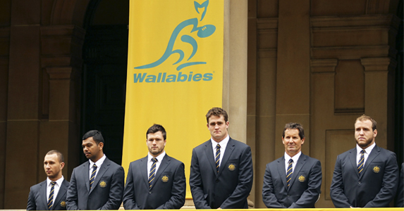 The Wallabies during the official farewell in Sydney