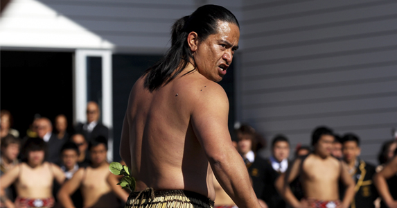 Maori Warrior Toa Waake issues the 'Wero' a traditional Maori challenge as part of the team welcome