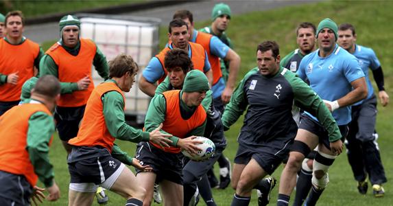 Ireland training ahead of their Quarter Final match against Wales