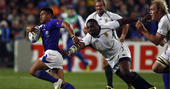 Lemi of Samoa charges against South Africa during the World Cup