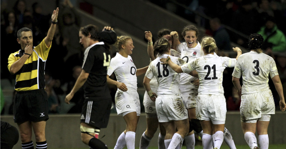 England Women celebrate a 10-0 victory over World Champions New Zealand