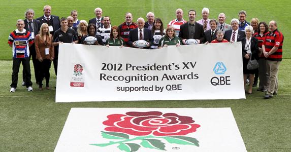 Maggie Alphonsi, RFU President Willie Wildash and Joe Worsley help launch the QBE Presidents XV awards
