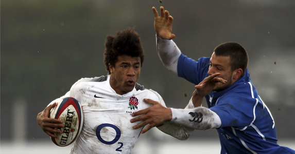 Anthony Watson in action this year for England U18 against Italy