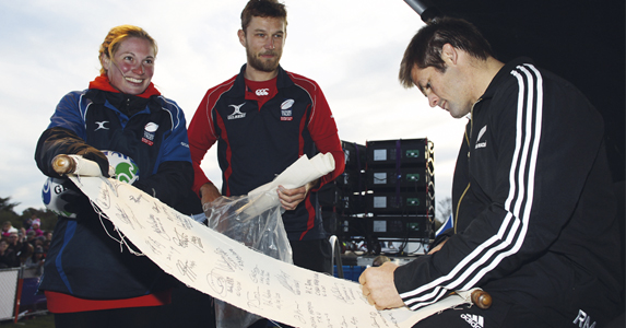 Final signature on the scroll - Richie McCaw
