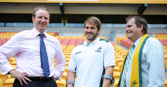 Queensland Sports Minister, Phil Reeves (R), Drew Mitchell of the Wallabies and former Wallaby Brett Robinson at the Lions schedule launch