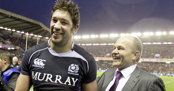 Happier times: Nathan Hines and Andy Robinson celebrate their 21-17 victory over South Africa in 2010