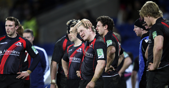 James King (C) and the rest of the Edinburgh team look on in disappoinment after losing to Cardiff last week