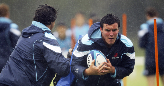 Kane Douglas training with the Waratahs in a dreary McKay Oval, Sydney