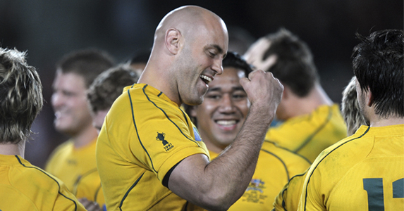 Nathan Sharpe, pictured here during his 100th test for the Wallabies receives the Medal of Excellence for the third time