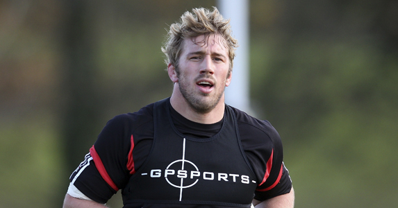 Chris Robshaw seen during training wearing a GPS vest