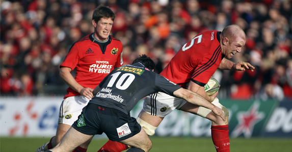 Paul O'Connell of Muster is tackled during the weekend's Scarlets v Munster Heineken game