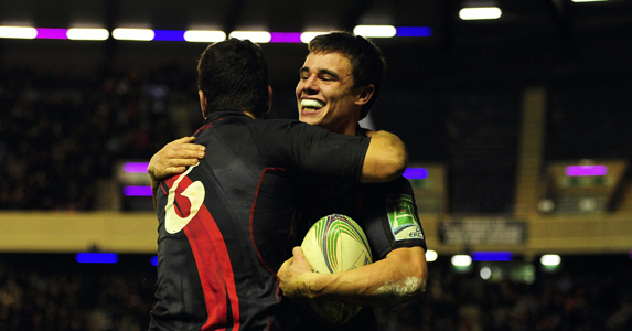 Wing Lee jones seen celebrating a try against London Irish during the pool stages of the Heinieken Cup