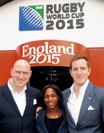Maggie with Lawrence and Will during the RWC 2015 launch
