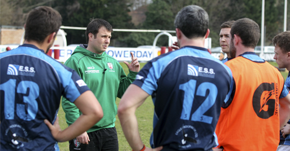 London Irish community coach Mike Crump gets the players started