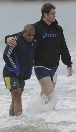 Genia and Horwill enjoy some time out during the 2011 RWC