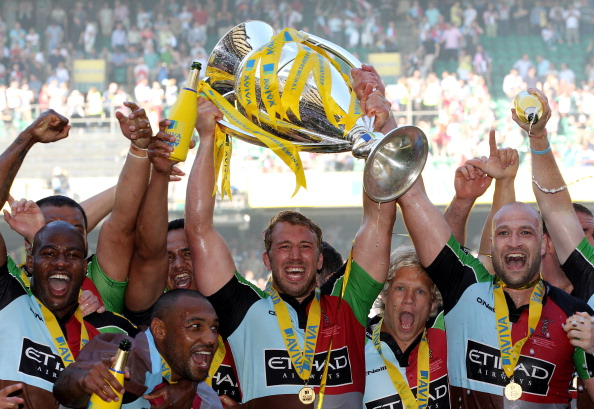 Champions: Captain Chris Robshaw lifts Harlequins' first Premiership title