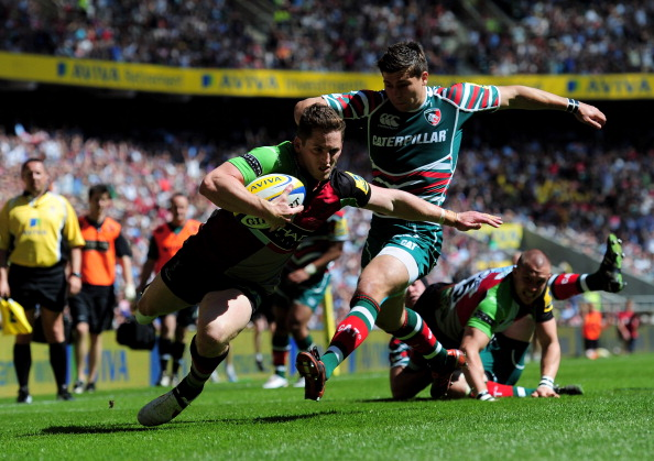 Sweet moment: Quins Tom Williams will have enjoyed his early try
