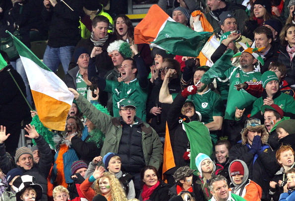 Ireland fans celebrate their team's early try, but their dreams of victory turned to dust