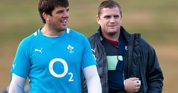 Injured Jamie Heaslip joins the team's training session in Auckland