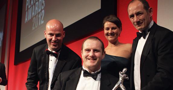 Alex Bennett (C) receives the RPA Blyth Spirit Award alongside Andy Blyth (L)