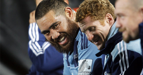 The day it all went wrong. Faumuina (R) on the injur bench during the round 12 match against the Lions