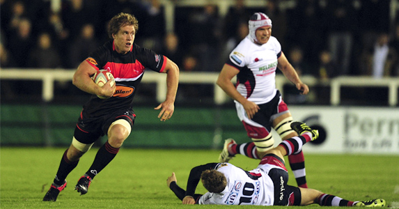 Fine form: Newcastle's Richard Mayhew (L) on the charge for the Falcons