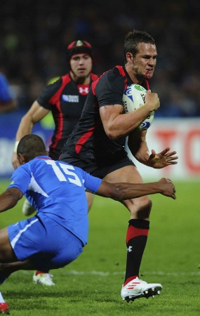 Byrne against Namibia at the 2011 RWC