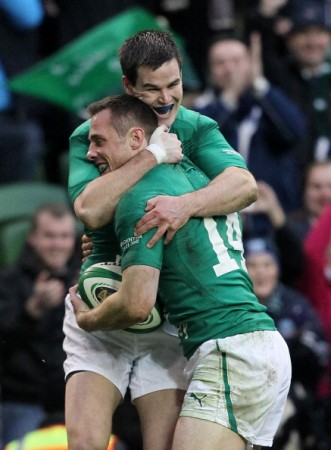 Happy days: Sexton congratulates Bowe