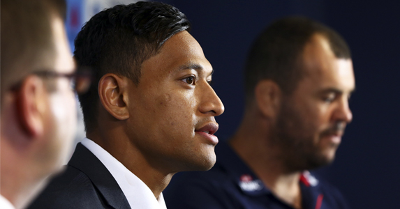Changing lanes: Israel Folau (C) joins the Waratahs on a on-year deal and hopes to play for the Wallabies one day