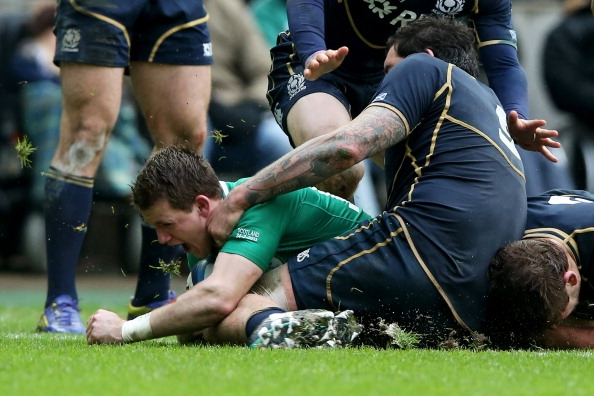 Craig Gilroy crashes over for Ireland's try