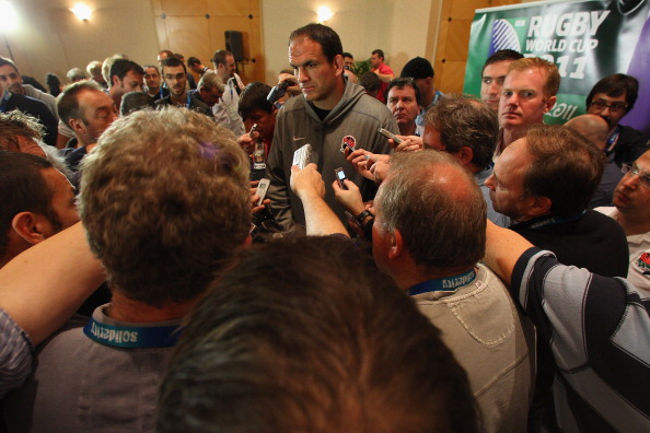 Media scrum: Martin Johnson had a tough RWC 2011
