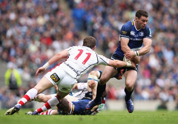 Evasive: Fergus McFadden attempts to skip past Craig Gilroy