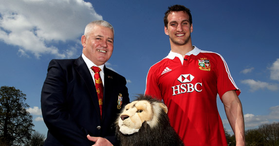 Warren G and Warbs: Lions Captain Sam Warburton is paraded in front of the cameras by a happy Warren Gatland