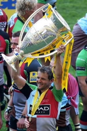 Nick Evans holds the Premiership trophy aloft after last season's final triumph
